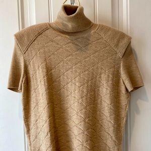 Chanel cashmere short sleeved turtleneck sweater